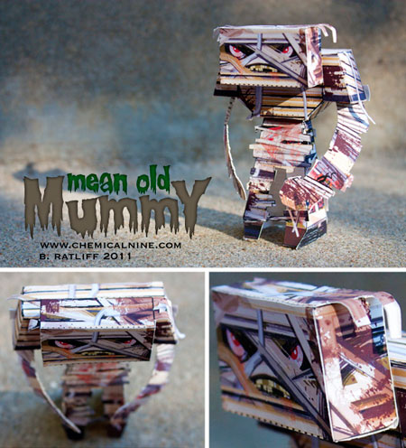 Mean Old Mummy Paper Toy Halloween 2011