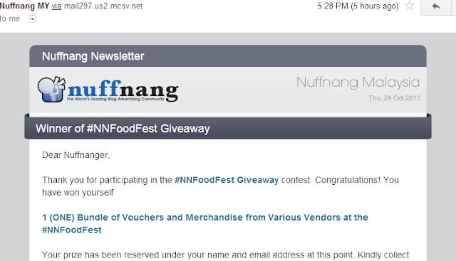 Pemenang #NNFoodFest 2013 Giveaway