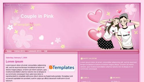 Couple in Pink template blogger