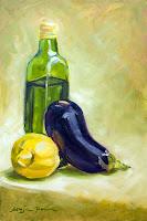 """""""Aubergine, Zitrone und Olivenöl"""" 30x20cm Öl auf Bord"""