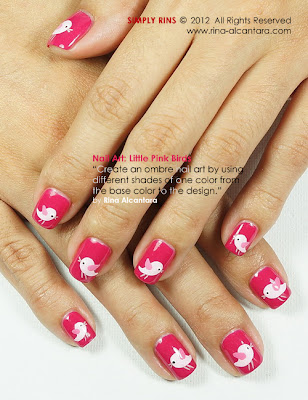 Little Pink Birds Nail Art by Simply Rins
