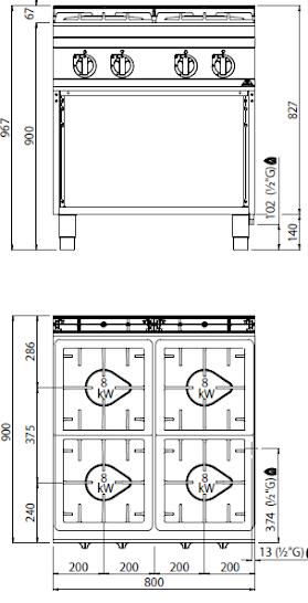 Cucina a gas 4 fuochi kw 32 cucina gas con mobile 1 - Manutenzione cucina a gas ...