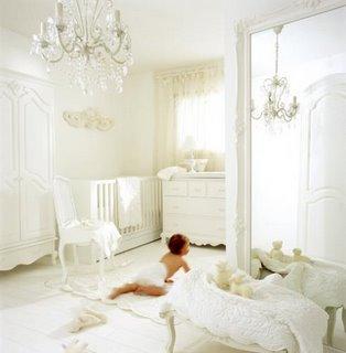baby room nursery white boy girl crib chandelier Christina ...