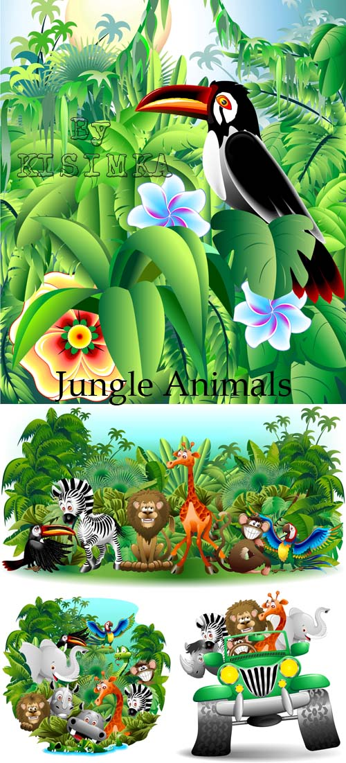 Stock: Jungle Animals Background-Vector