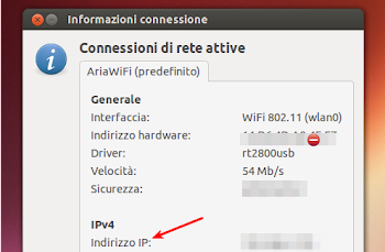 indirizzo ip in network manager