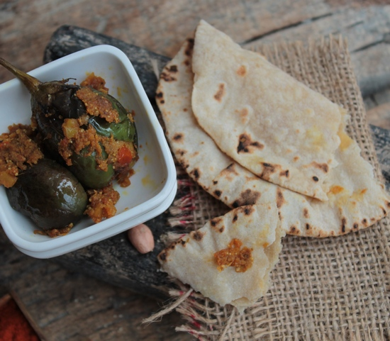 Stuffed eggplant or Brinjal curry with poppy seeds and peanut paste
