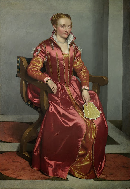 Giovanni Battista Moroni - Portrait of a Lady, perhaps Contessa Lucia Albani Avogadro ('La Dama in Rosso') - Google Art Project