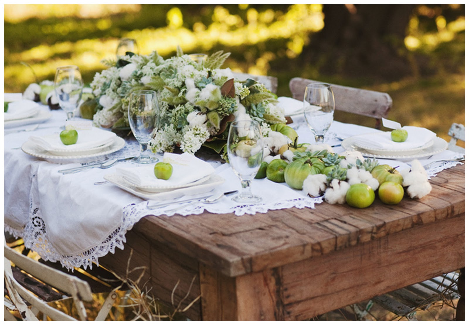 Picnic tables reception project wedding forums for Deco de table champetre