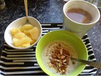 Grapefruit, porridge and a cup of tea