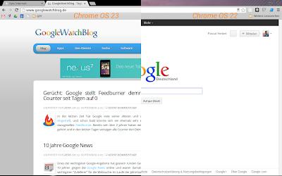 Vergleich der Tabbar in Chrome OS 22 und 23