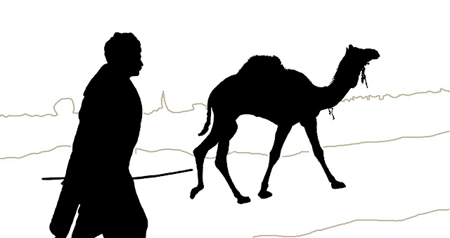 camel and man silhouette