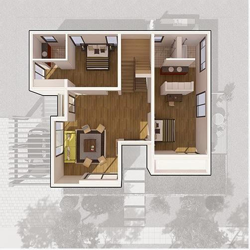 Thiết kế mặt bằng tầng 2 biệt thự đơn lập