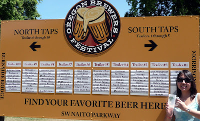 Sign showing the way to beer at Oregon Brewer's Festival