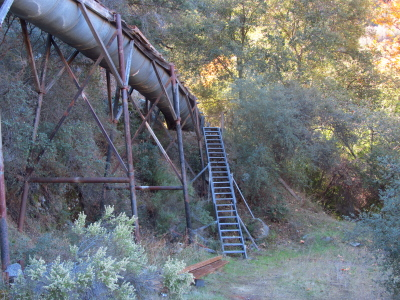 a bit of the sluice with a handrailless stairway