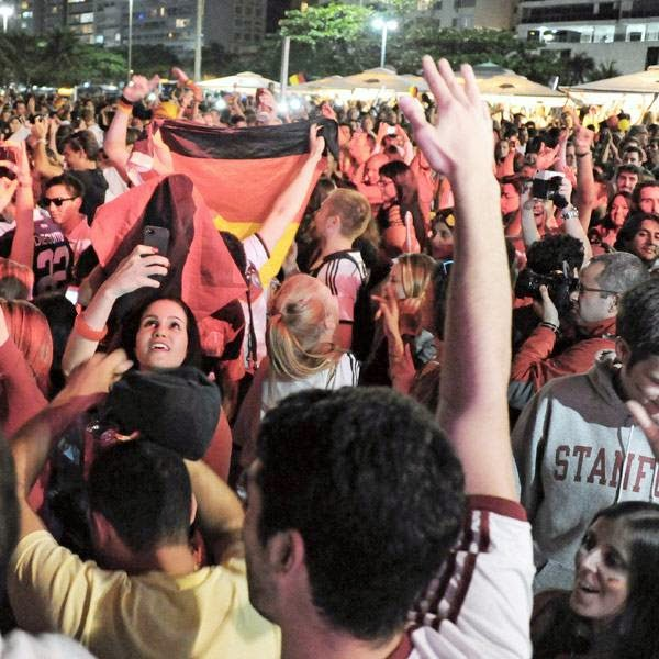 Fans of Germany celebrate after the end of the FIFA World Cup final between Germany and Argentina at the Fan Fest at Copacabana beach in Rio de Janeiro, Brazil, on July 13, 2014.