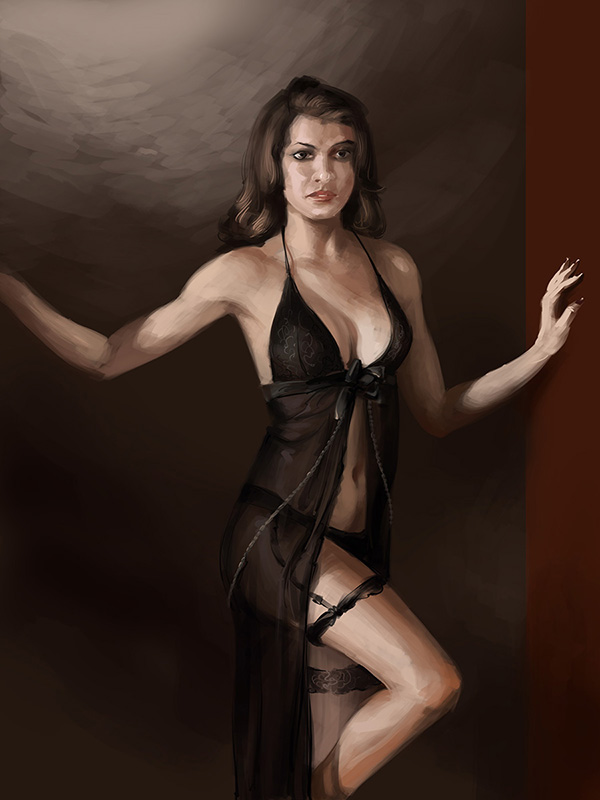babe in lingerie digital painting