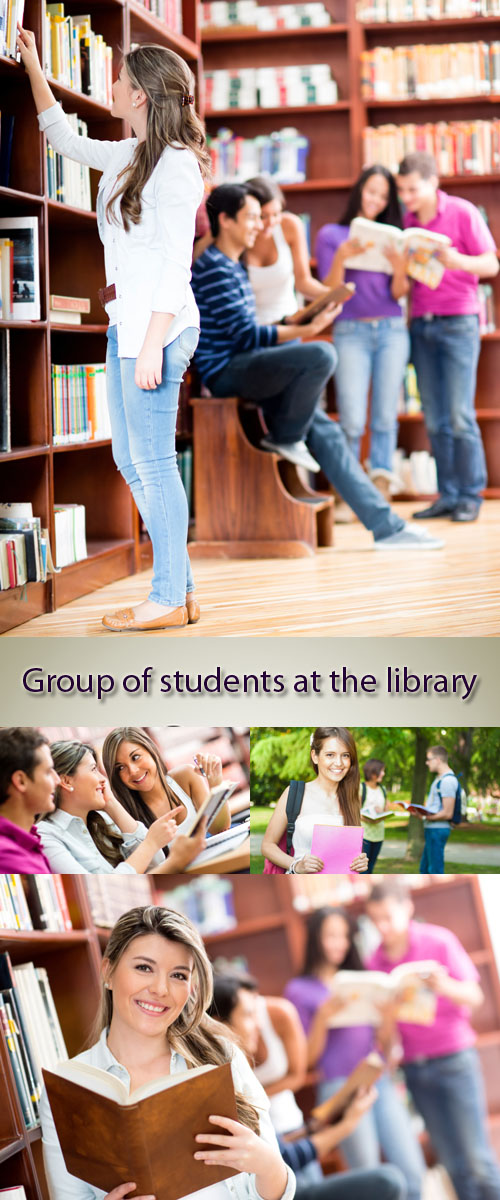 Stock Photo: Group of students at the library