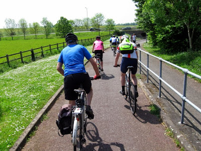 Cyclists heading for underpass