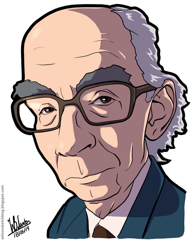 Cartoon caricature of José Saramago.