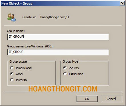 Tạo Group trên Active Directory