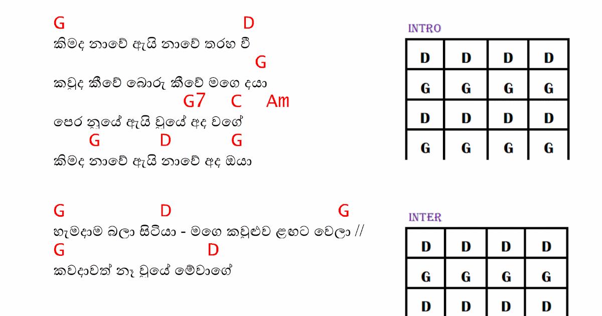 Kimada Nawe Guitar Chords | Sinhala Guitar Chords|Sinhala Songs ...