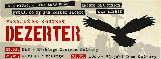 Dezerter koncerty luty-marzec 2014