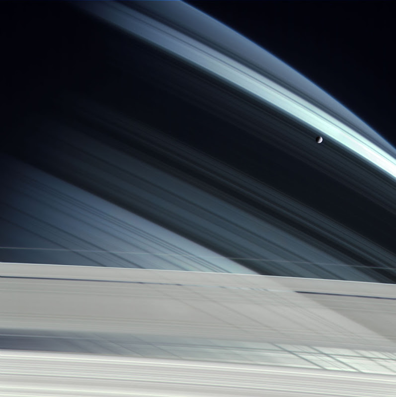 Mimas Over Saturn by Michael Benson
