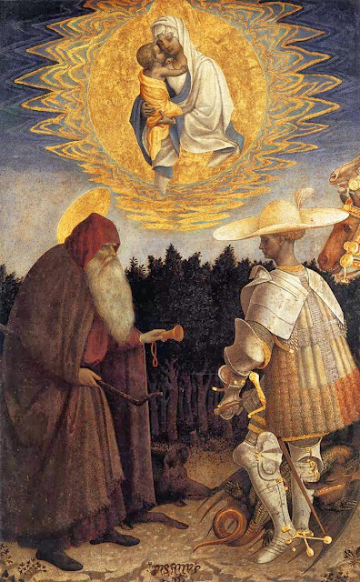 Pisanello - Apparition of the Virgin to Sts Anthony Abbot and George