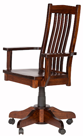Raised Mission Swivel Base Office Chair with Arms, in Michigan Oak