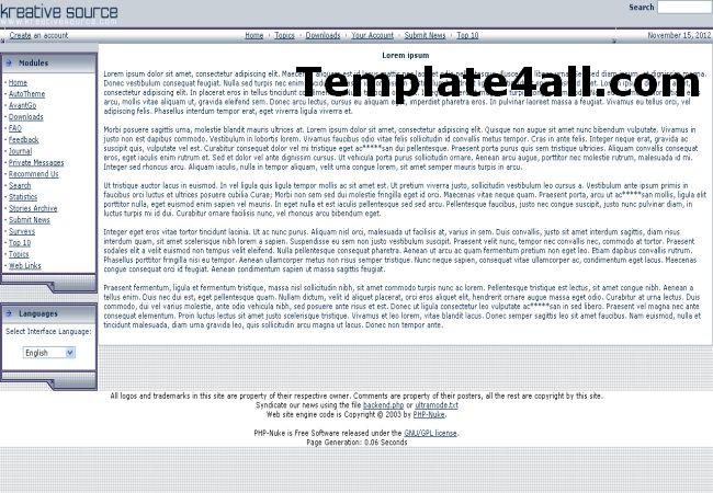 Free Ice Grey White Phpnuke Theme Template