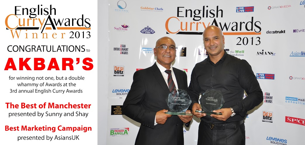 Akbar's Restaurants Double Award WInners - English Curry Awards 2013