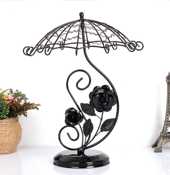 Elegant Jewelry Organizer Display Earring Holder Rotating Umbrella Rose Shape Home Decor