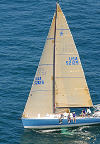 J/125 Stark Raving Mad sailing upwind in San Diego