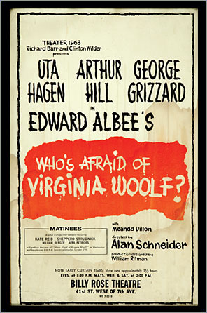a analysis of whos afraid of virginia woolf by edward albees The play begins, develops and concludes under the aegis of a title that cannot be fully disambiguated is either a serious or an ironic reference to virginia woolf as a significant female author – the opening line of whose a room of one's own (1929) 'speak[s] about women and fiction' – intended if so, are.