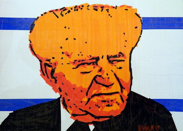 bronya & sonya benigeler  tape art portrait of Ben Gurion Дави́д Бе́н-Гурио́н  דוד בן-גוריון