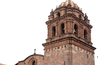 Baroque tower of the Iglesia de Santo Domingo in Cuzco Peru