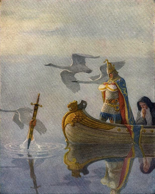 N. C. Wyeth - And when they came to the sword that the hand held, King Arthur took it up, 1922