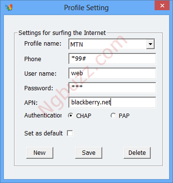 MTN blackberry on PC settings