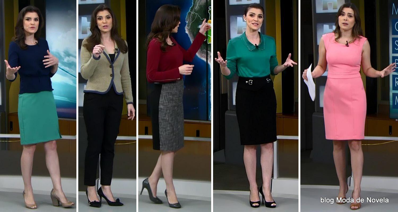 """moda do programa Jornal Hoje - looks das """"moças do tempo"""" dias 9 a 13 de junho"""
