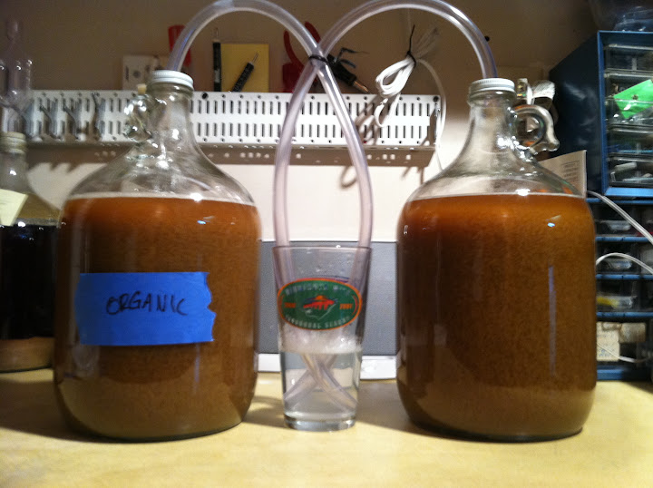 left: organic pale ale, right: non-organic pale ale