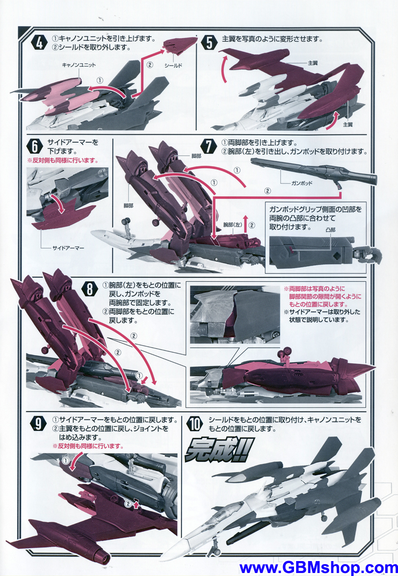 Bandai DX YF-29 Durandal Transformation Manual Guide