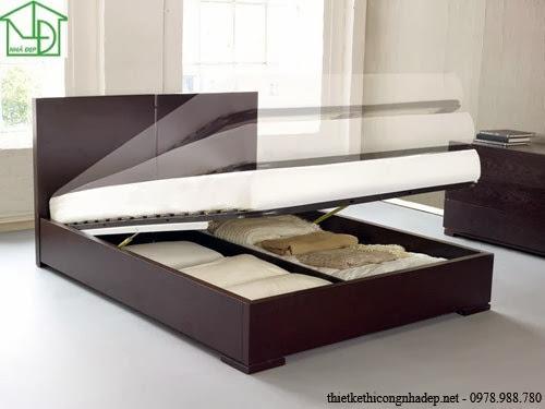 Giường ngủ được thiết kế giống như chiếc tủ để chứa đồ, có thể dùng đựng chăn đệm tiết kiệm diện tích