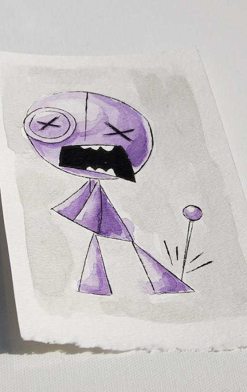 voodoo doll watercolor, voodoo doll art, akumu ink art, kawaii goth, skull art, skeleton art, nightmare art, artist alley sketch, comicon art, cute scary art