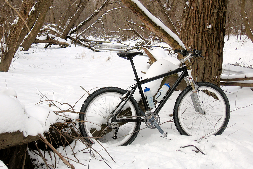 Rest Break - Pedaling in the snow isn't easy