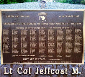 Memorial from the personnel of 9 Wind Canadian Forces Base Gander September 1995