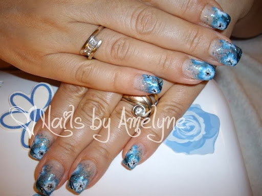 Blue Glitter  Hand Painted Flowers
