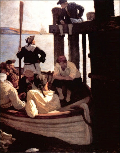 N. C. Wyeth - Kidnapped by Robert Louis Stevenson. At Queen's Ferry