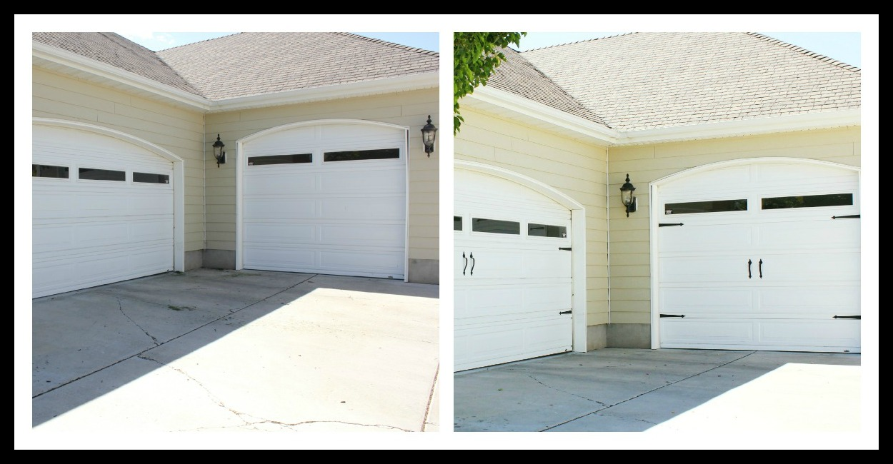 plain garage door to carriage doors {how to primp your garage}