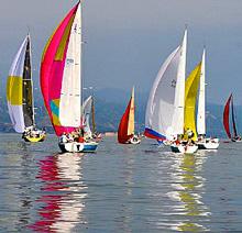 J/29 sailboat- sailing Santa Barbara, California