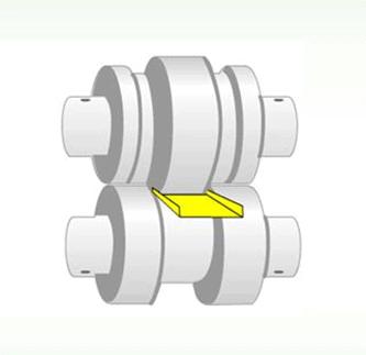 Descrição – Chapa sendo laminada através de dois cilindros com ranhuras em sua superfície. O resultado é um perfil em U.